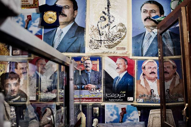 Portraits  of President Ali Abdullah Saleh are seen in a  shop  in the old town of Sanaa.