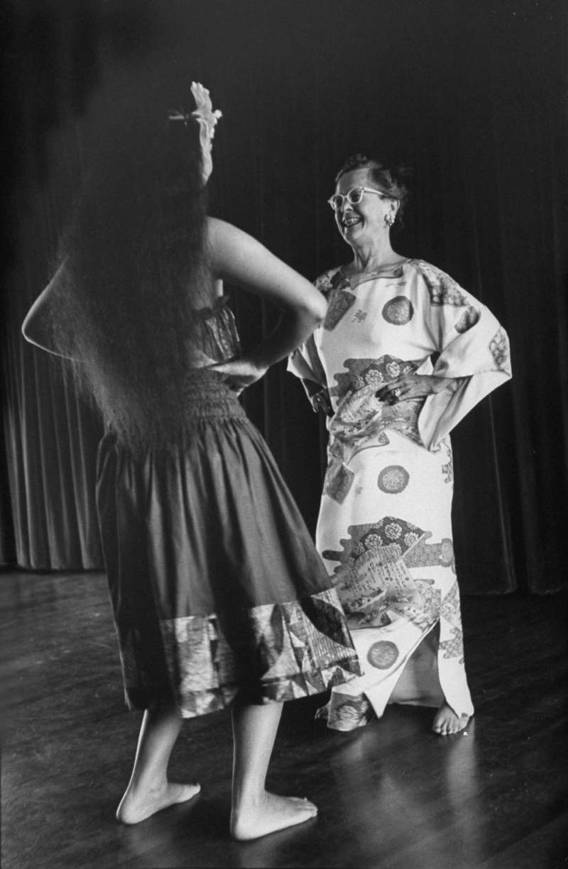 An American woman takes a hula lesson. Starting in the 1950s the mainland developed a fascination with all things Polynesian.