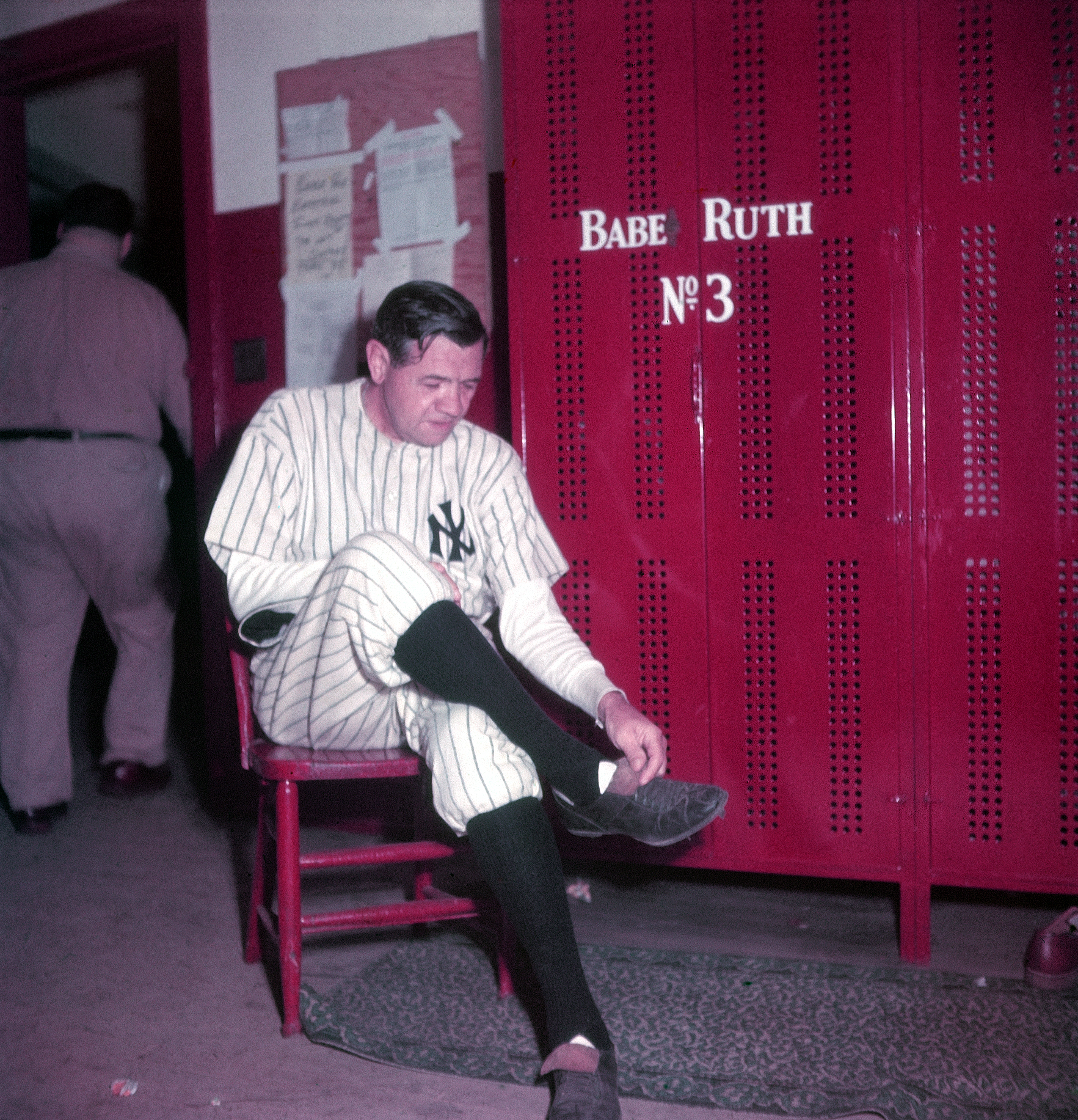 Not published in LIFE. Babe Ruth in the locker room at Yankee Stadium, June 13, 1948, the day his number was retired.
