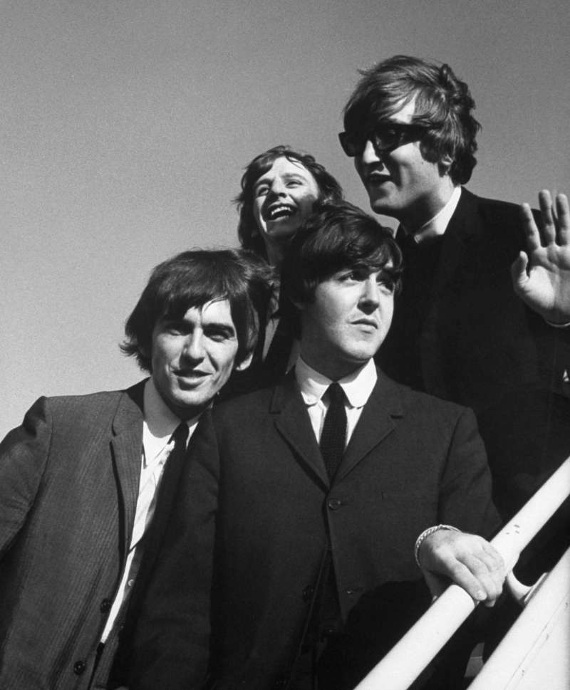 The Beatles arrive at Los Angeles airport for a press conference in August 1964.