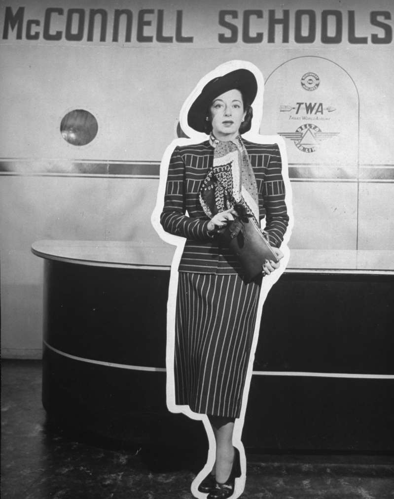 Zell McConnell, owner of the McConnell Air Hostess School -- which trained women in the art of grooming, charm, poise, reading, conversational French, and entertainment -- is shown in a 1947 photo.