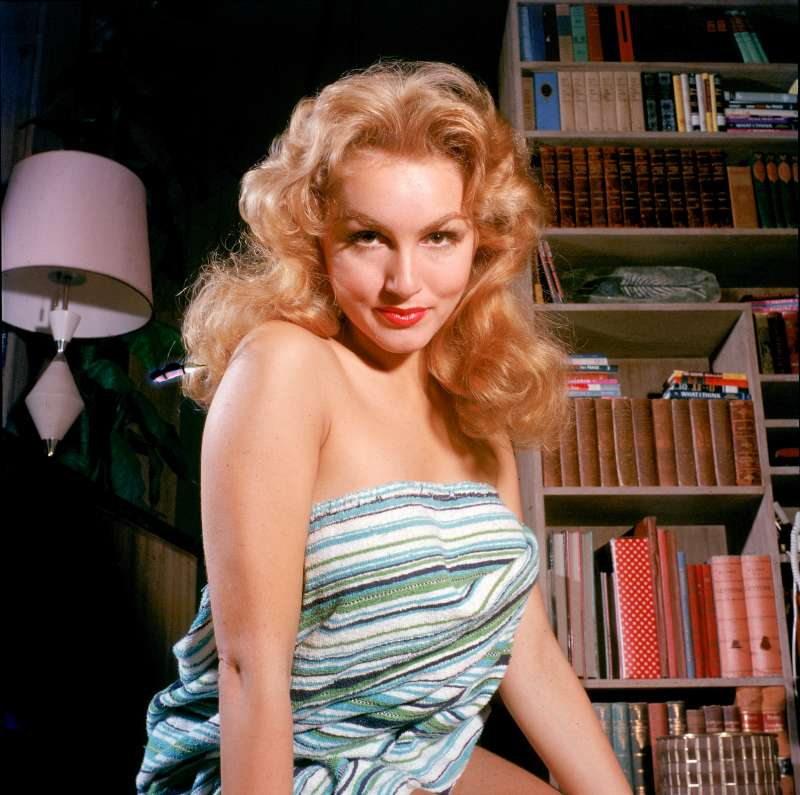 Not published in LIFE. Julie Newmar on the set of the Broadway play, The Marriage-Go-Round, 1958.