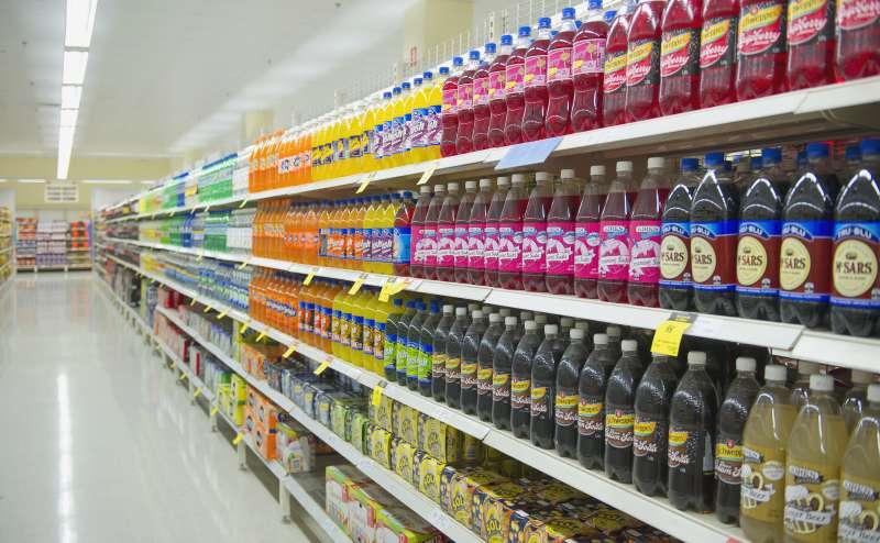 Bottled juice on supermarket shelves