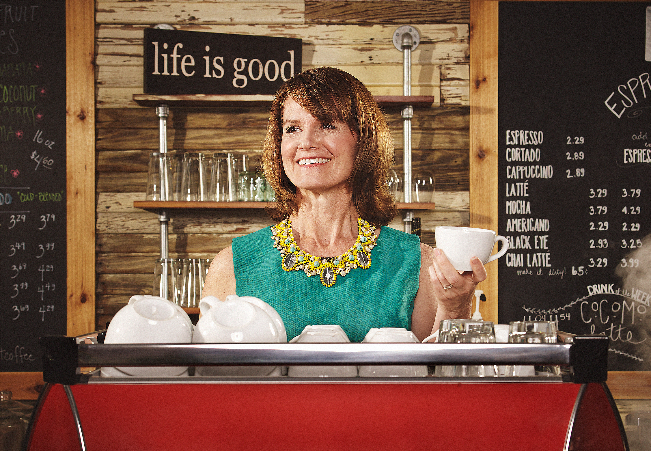 Vicky Lewis in her Dripping Springs, Texas coffee shop