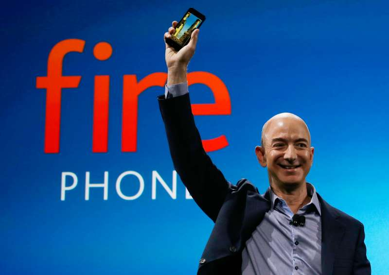 Amazon CEO Jeff Bezos introduces the new Amazon Fire Phone on Wednesday in Seattle.