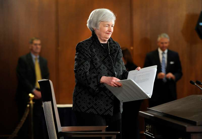Federal Reserve Chair Janet Yellen arrives for a news conference at the Federal Reserve in Washington, Wednesday, June 18, 2014.