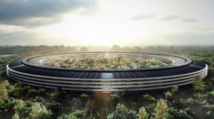 Aerial of the main building of Apple's new Cupertino campus, powered by renewable energy.