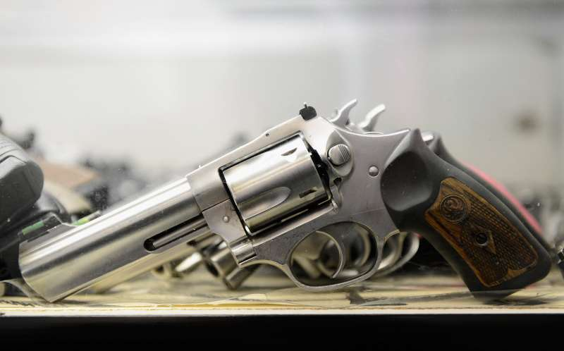 A Smith & Wesson .357 magnum revolver is displayed for customers to rent at a Gun Club on December 7, 2012 in Los Angeles, California.  Gun enthusiasts rent the the weapon to try out before making a purchase at a gun store . Leading firearms maker Smith & Wesson reports almost 50 percent increase in sales revenue.