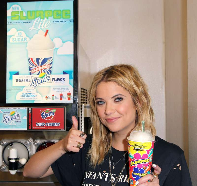 Actress Ashley Benson of ABC's show  Pretty Little Liars  takes ceremonial first Slurpee sip during last summer's 7-Eleven promotions.
