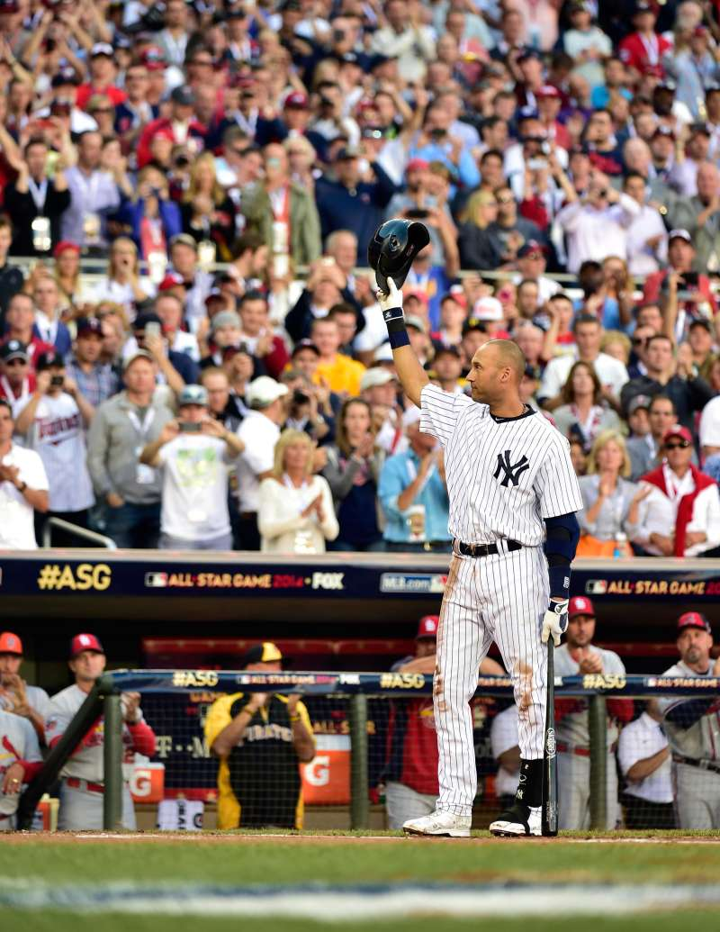 In his final season, Derek Jeter of the New York Yankees acknowledges the crowd as he comes up to bat in the first inning during the 2014 MLB All Star Game.