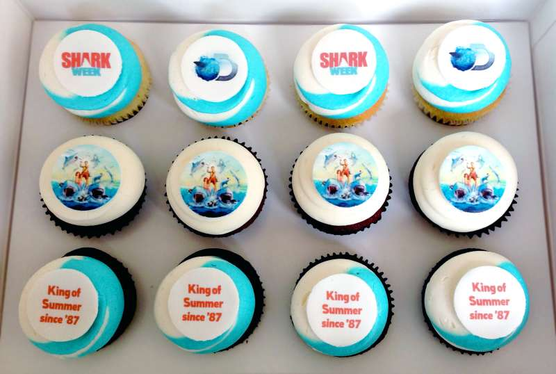No  Shark Week  party is complete without a dozen of these cupcakes ($34.95 via Discover Channel store).