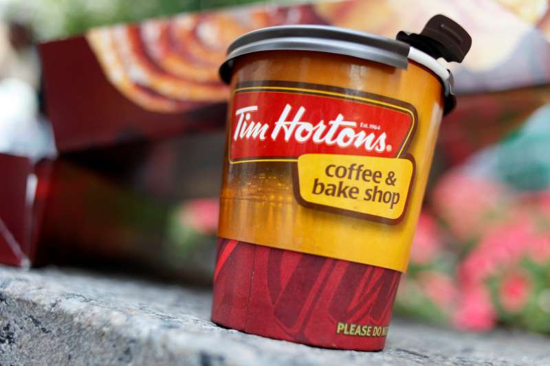 A Tim Hortons coffee cup in New York City on July 22, 2009.