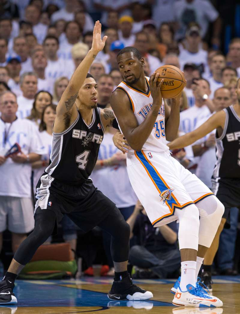 Kevin Durant (#35) of the Oklahoma City Thunder backs up to the basket against the San Antonio Spurs in Game 6 of the Western Conference Finals during the 2014 NBA Playoffs at the Chesapeake Arena on May 31, 2014 in Oklahoma City, Oklahoma.