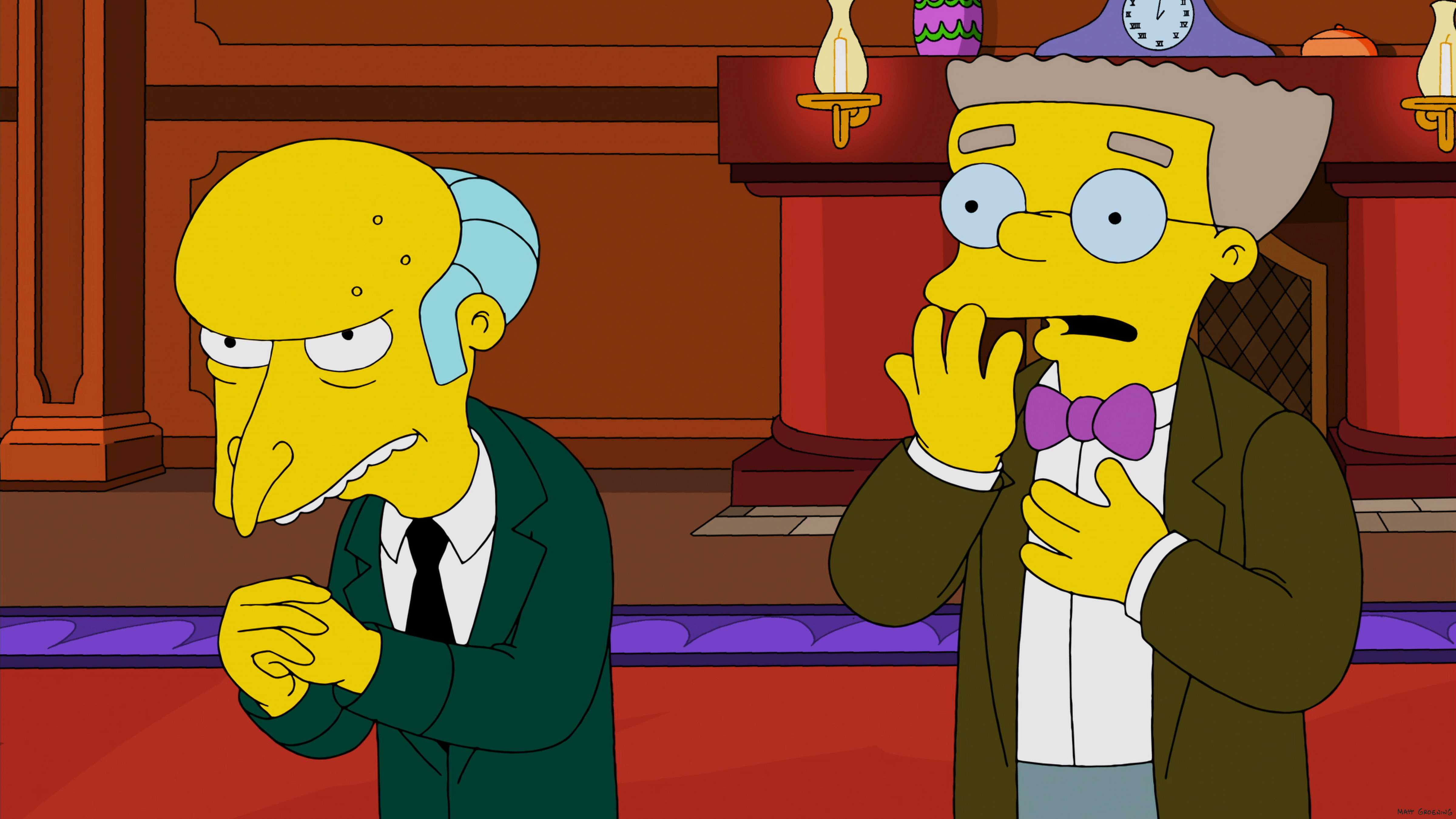 THE SIMPSONS, l-r: Mr. Burns, Smithers in 'Specs and the City' (Season 25, Episode 11, aired January 26, 2014).