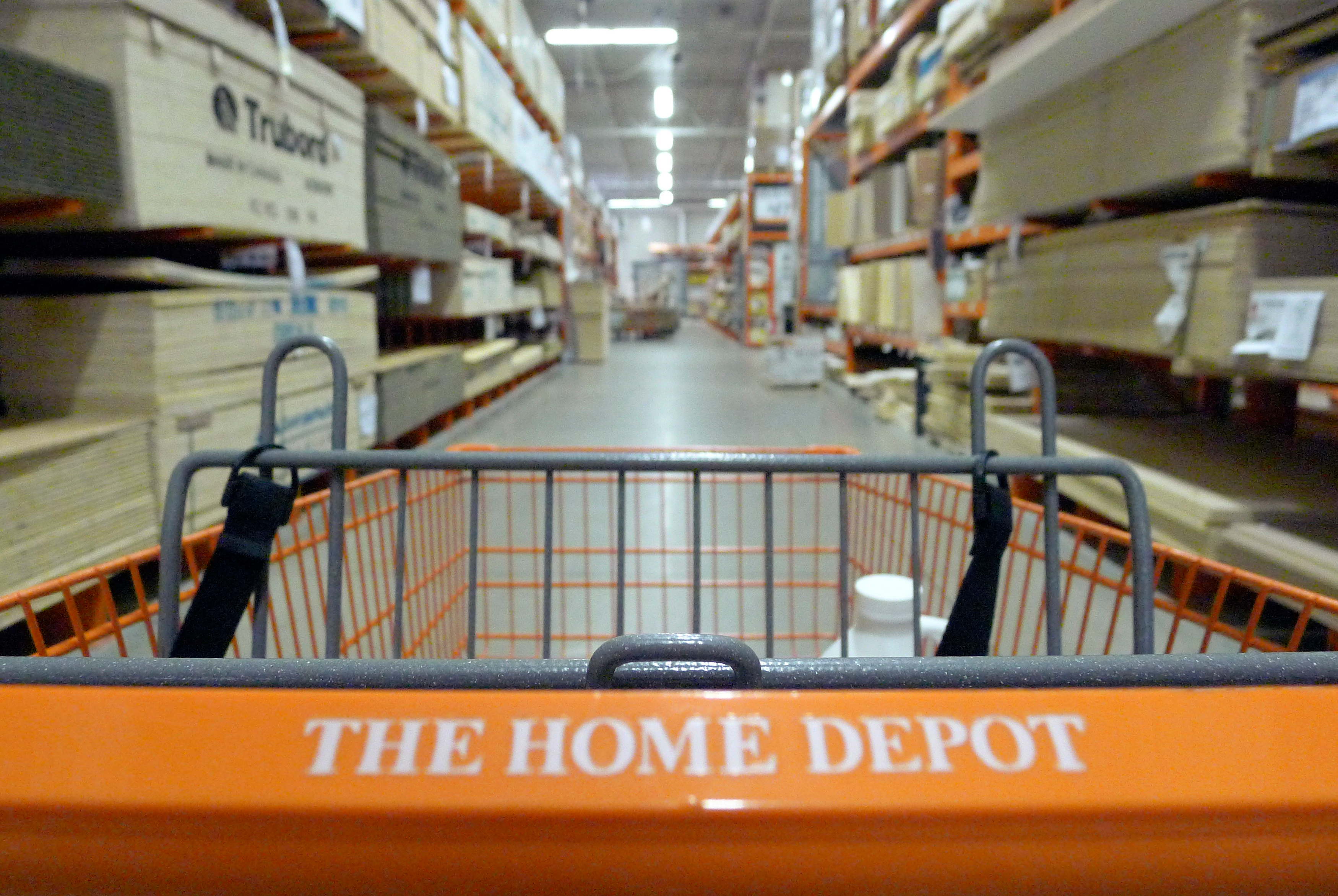 A shopping cart is seen in a Home Depot location in Niles, Illinois, May 19, 2014.