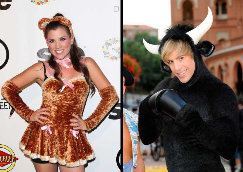 Combine a bear costume (as worn by actress Katie Seeley, left,) and a bull suit (see Sacha Baron Cohen, right) for a punny stock market couples costume.