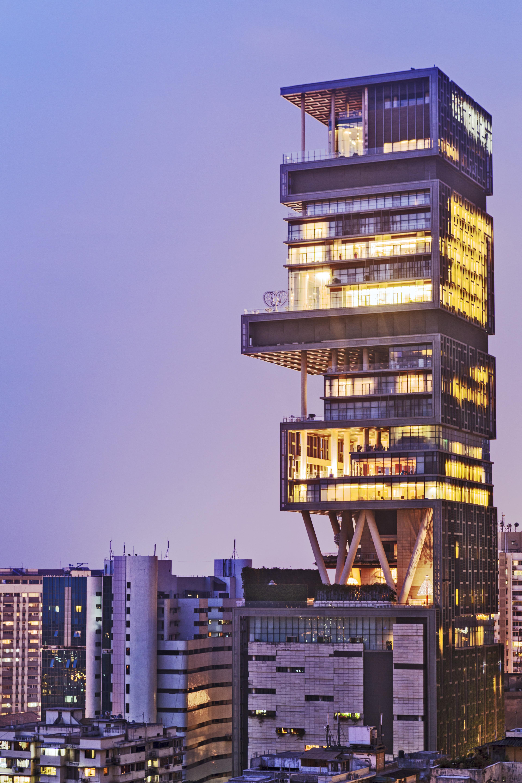 India, Maharashtra, Mumbai, Kemp's Corner, Antilia aka the Ambani building on Altamont Road.