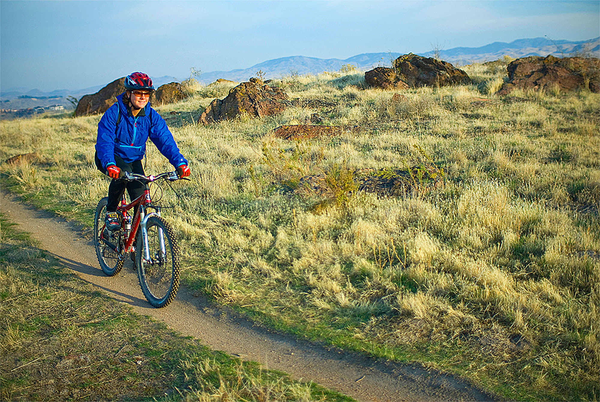 A mountain biker rides through the foothills above Boise, Idaho.