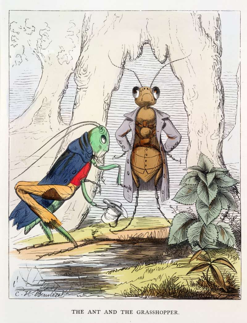 Aesop Fables' The ant and the grasshopper. Designed and drawn on the wood by Charles H. Bennett, etc. Originally published/produced in W. Kent & Co.: London, 1857.