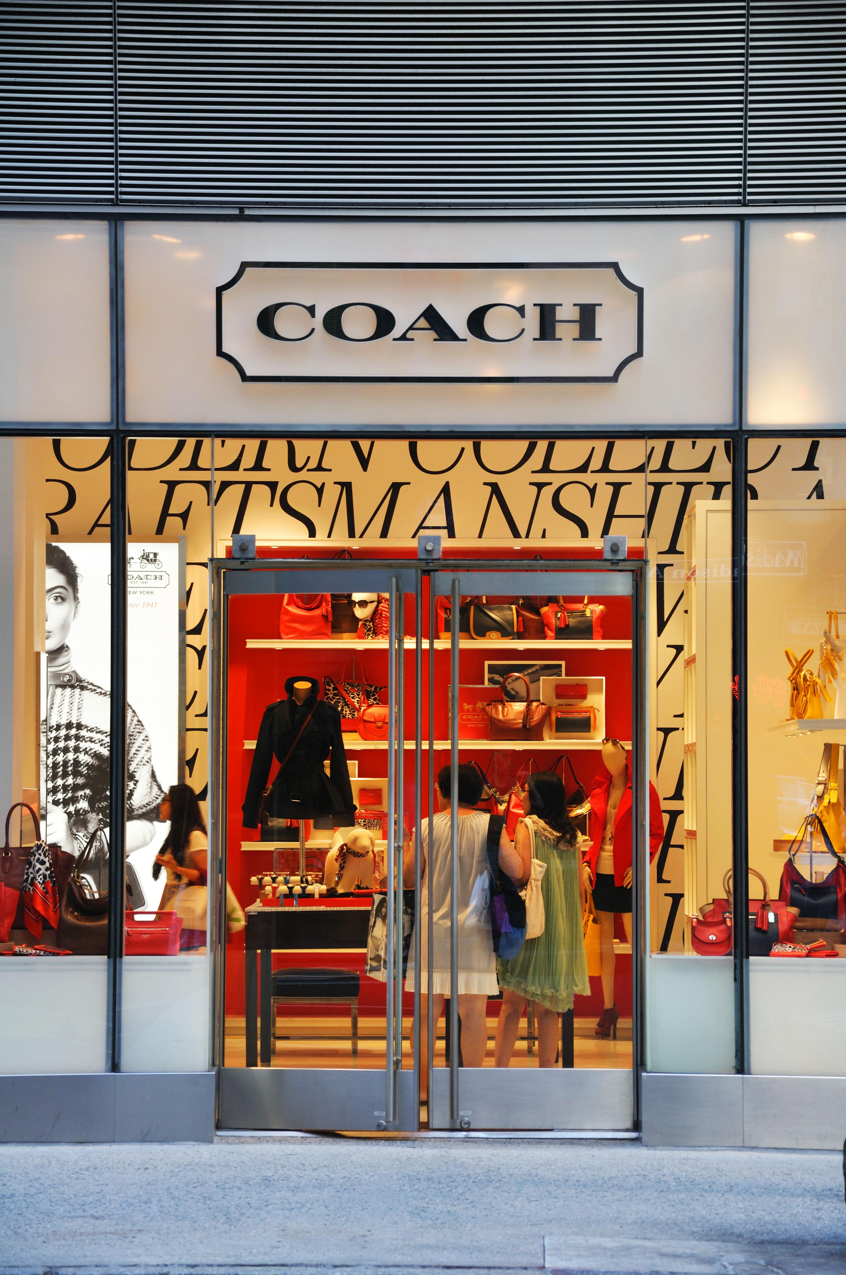 Coach designer handbag store, New York, USA.