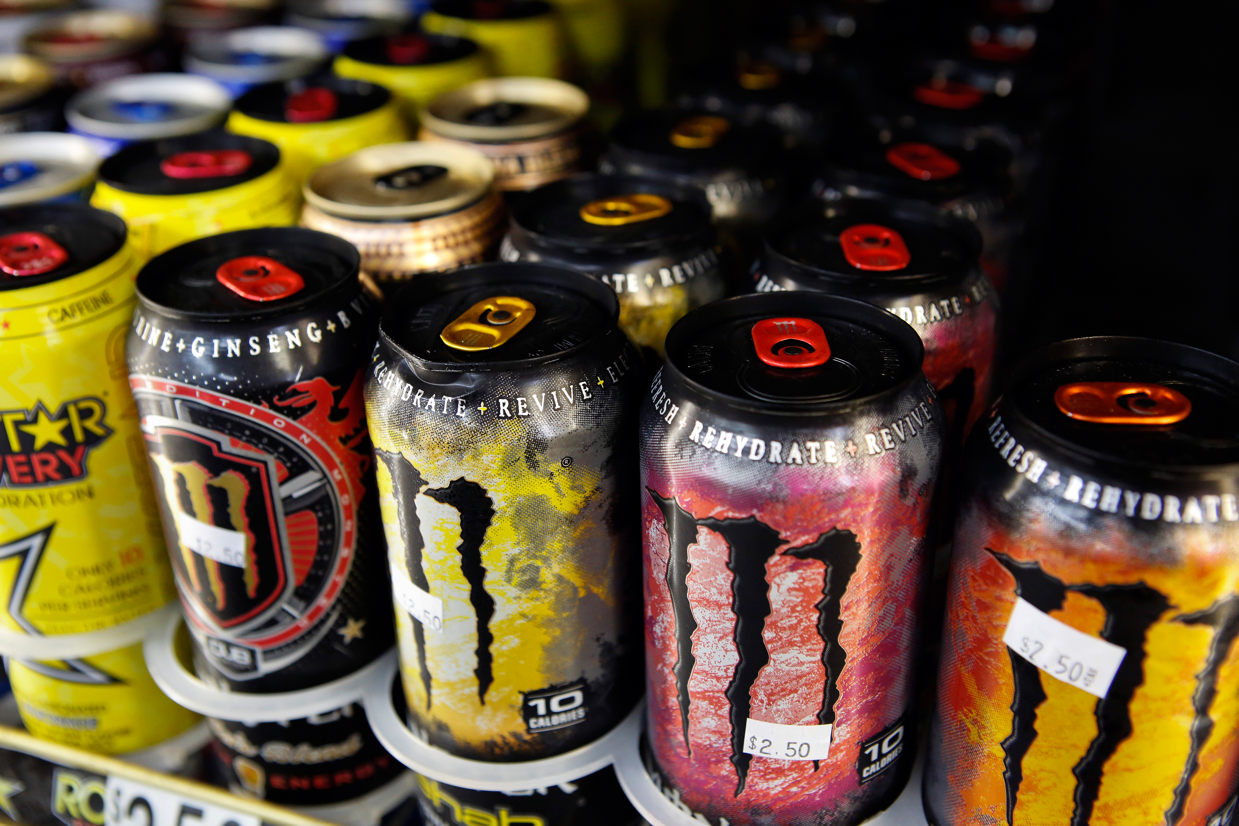 Cans of Monster Beverage Corp. energy drink are displayed for sale at a convenience store in Redondo Beach, California, U.S.