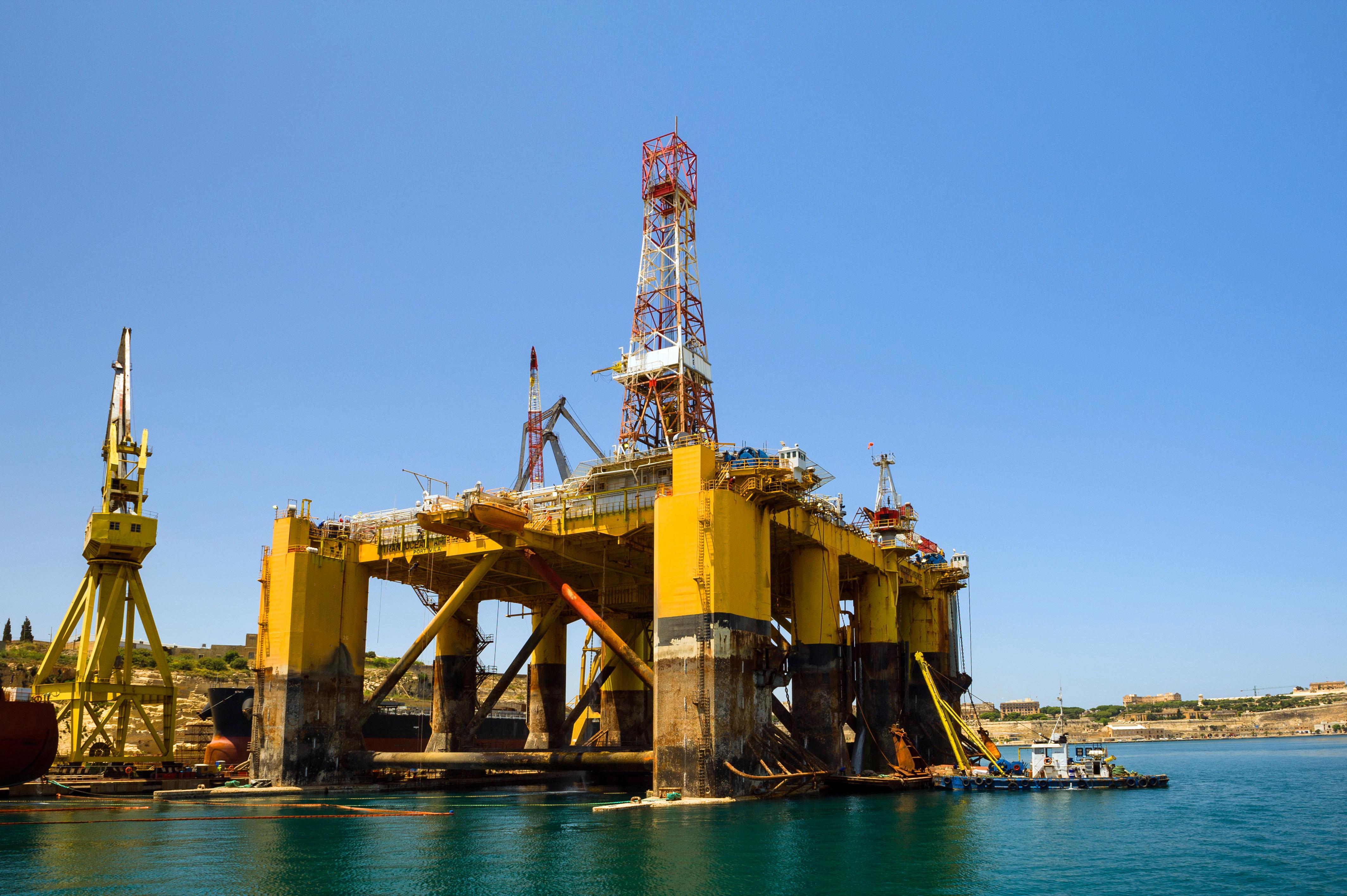 Transocean Drilling Rig, undergoing maintenance in the harbour of Valletta, Malta.
