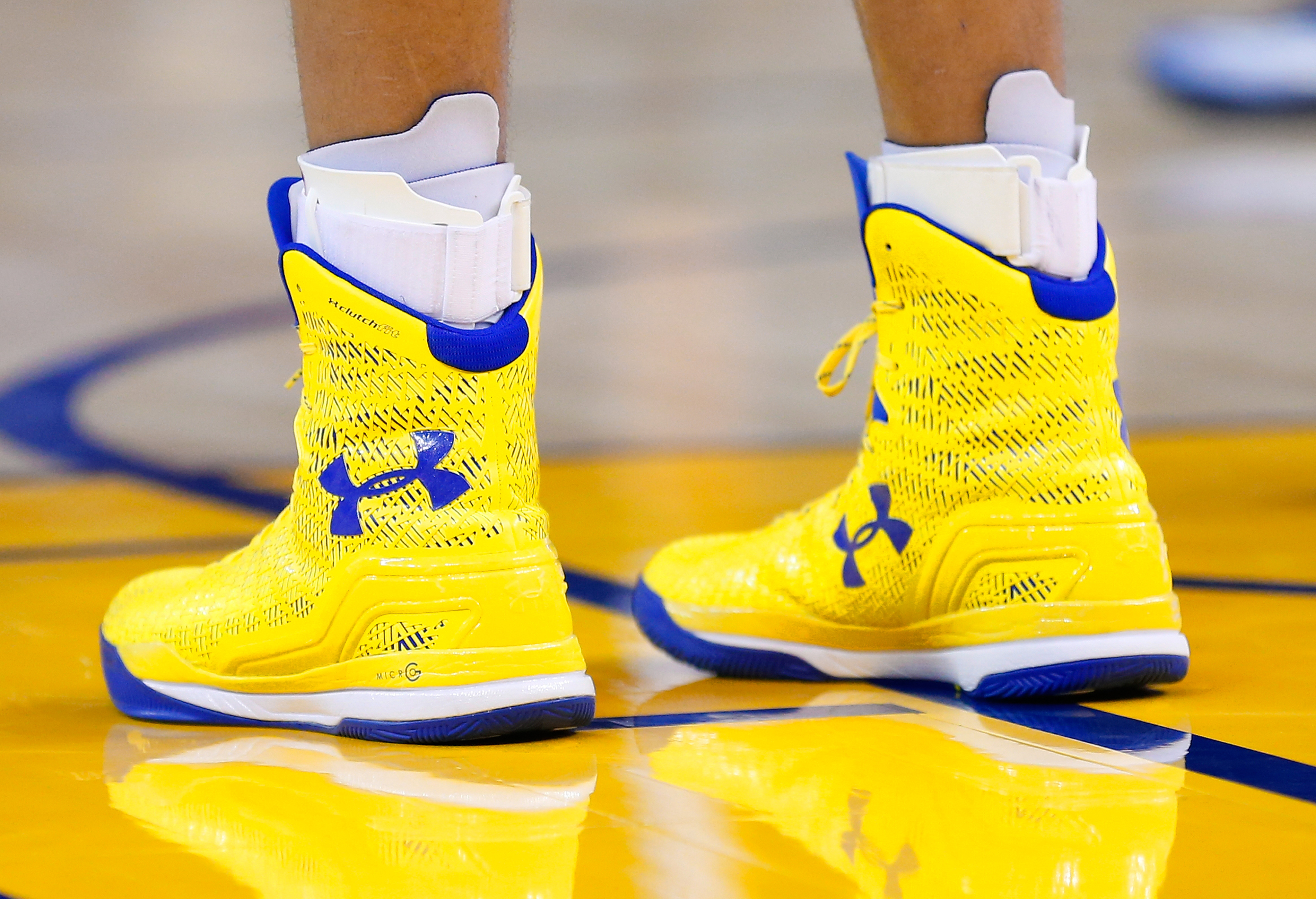 A detailed view of the Under Armour basketball shoes worn by Golden State Warriors guard Stephen Curry #30 against the Utah Jazz at ORACLE Arena on November 21, 2014 in Oakland, California.