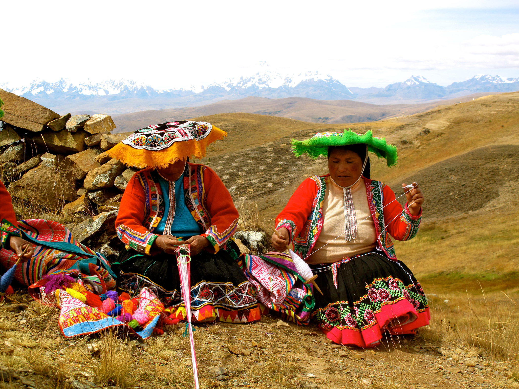 Andean weavers in Cuyuni, a village outside of Cuzco
