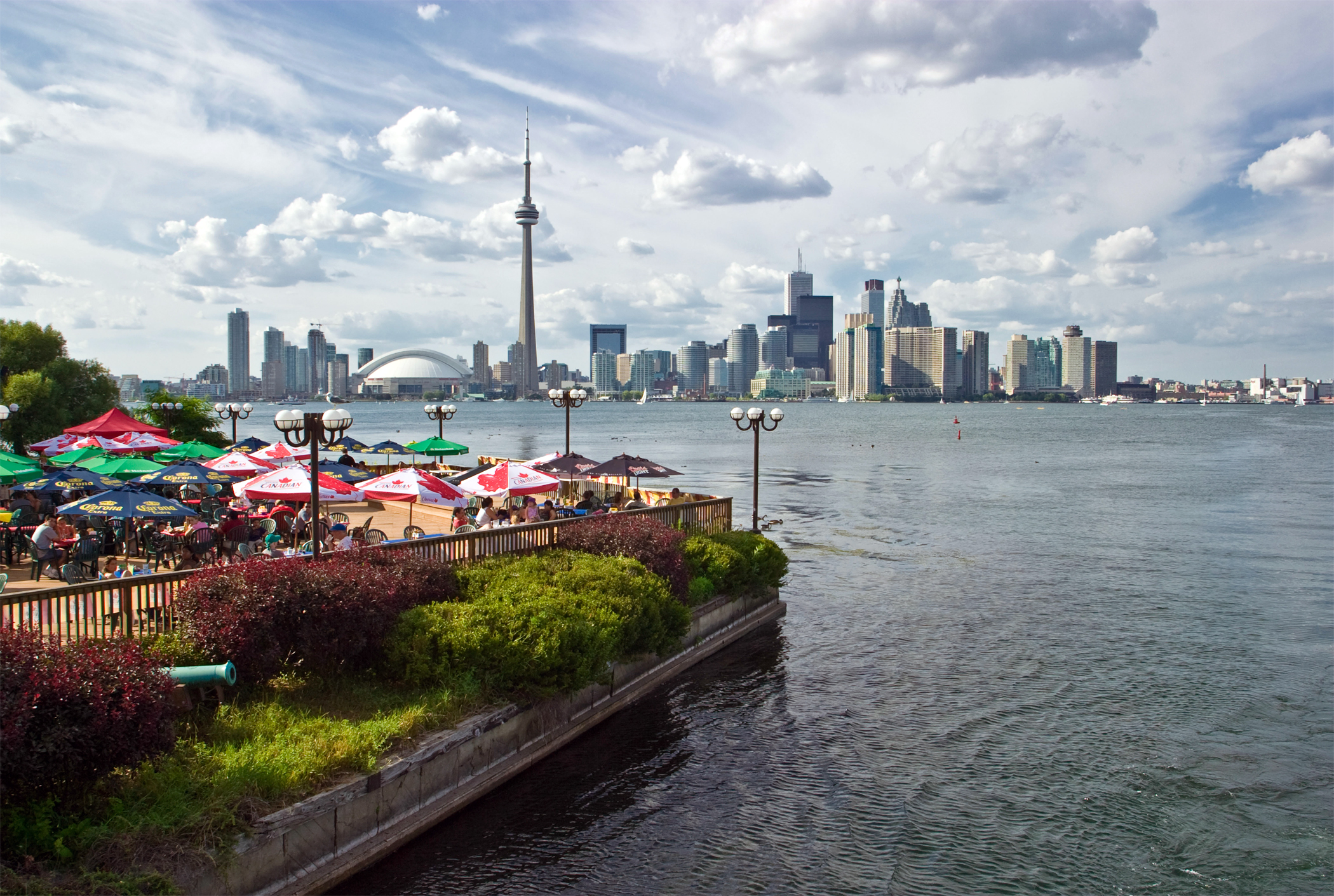 Toronto downtown panorama view from Centre Island, restaurant in foreground.