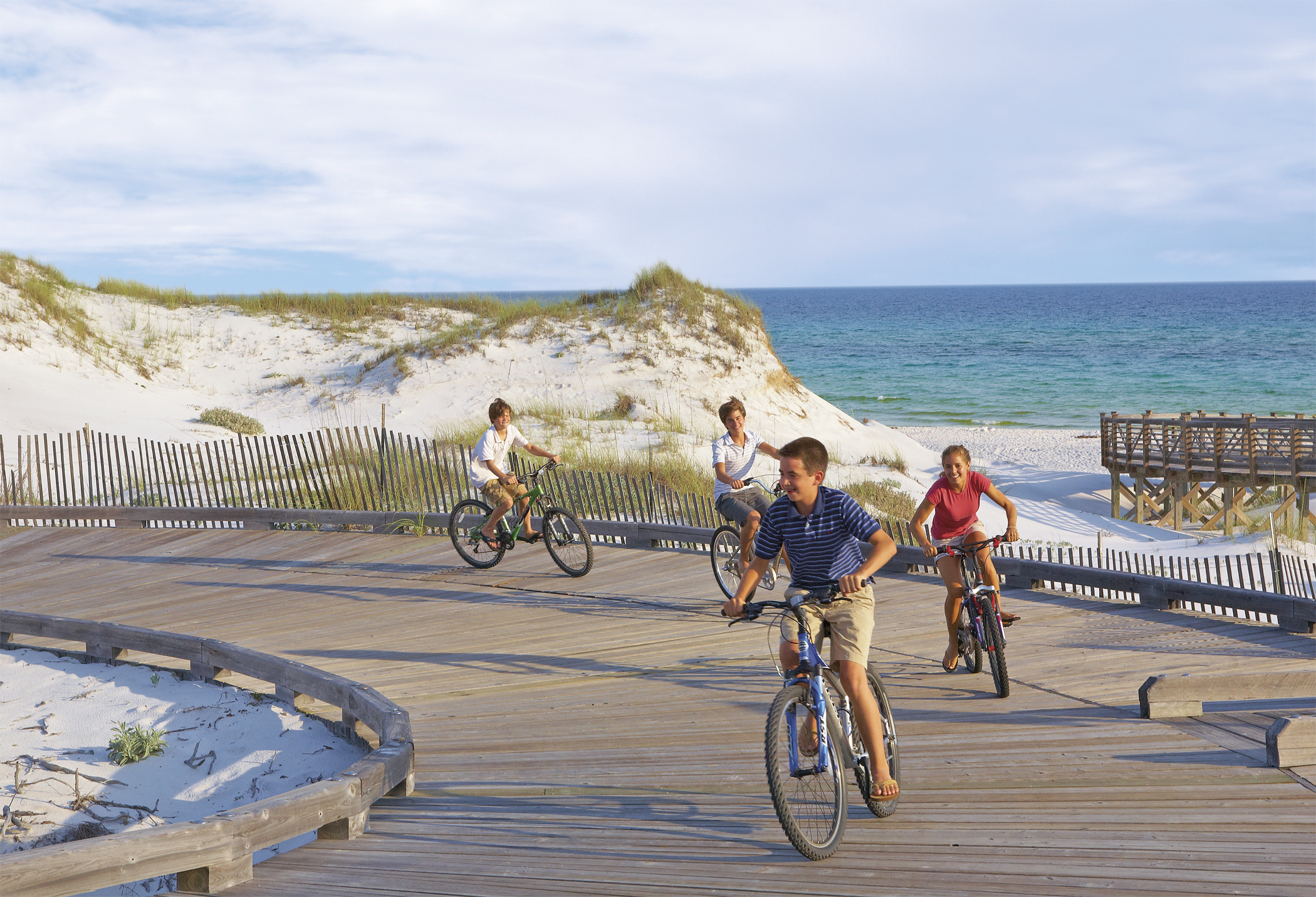 Riding bikes on the watersound boardwalk