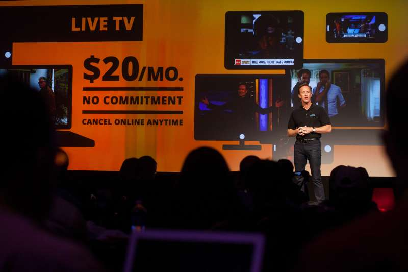Roger Lynch, chief executive officer for Sling TV LLC, speaks at a press conference during the 2015 Consumer Electronics Show (CES) in Las Vegas, Nevada, U.S., on Monday, Jan. 5, 2015.