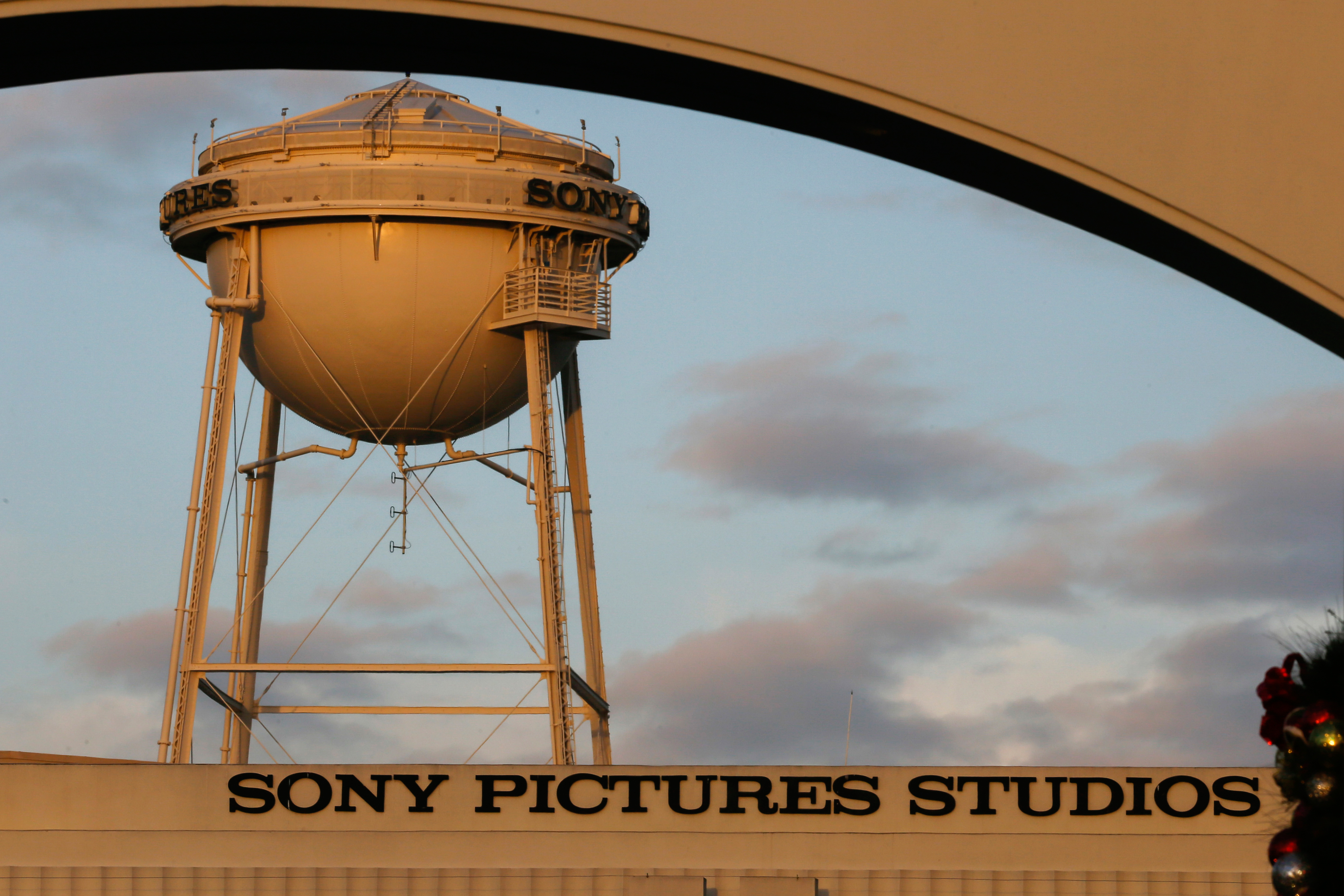 The water tower at the Sony Pictures Entertainment Inc. studios in Culver City, California.
