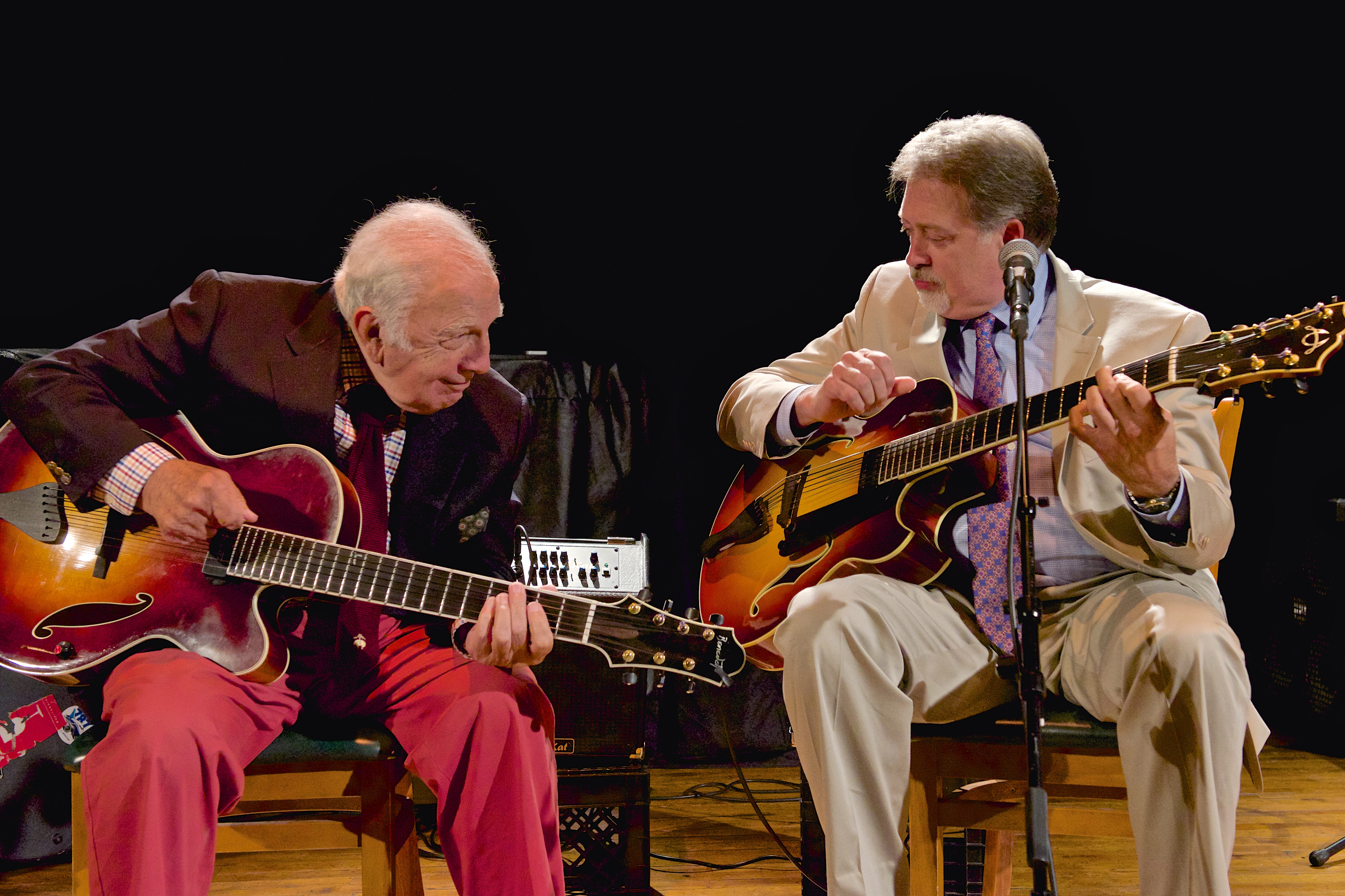 Jazz guitarist Bucky Pizzarelli, 89, at left, with Ed Laub, 62.