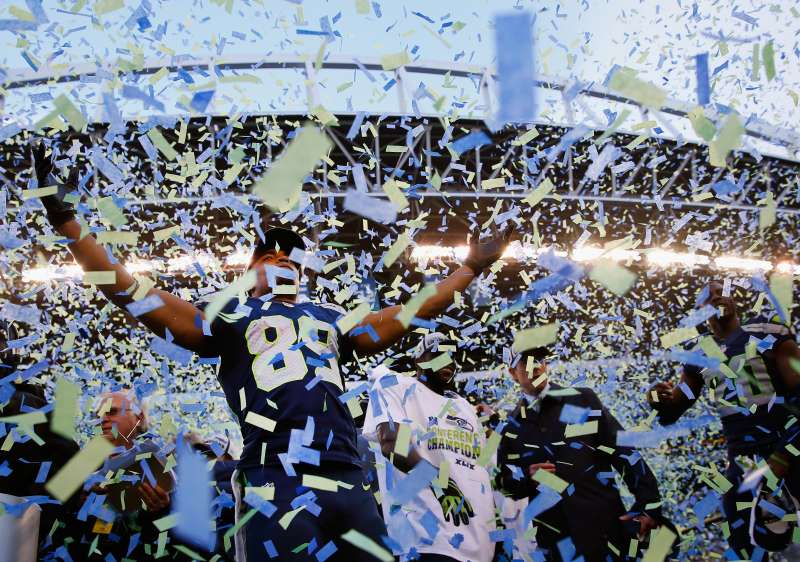 SEATTLE, WA - JANUARY 18:  Wide receiver Doug Baldwin #89 of the Seattle Seahawks celebrate after the Seahawks 28-22 victory in overtime against the Green Bay Packers during the 2015 NFC Championship game at CenturyLink Field on January 18, 2015 in Seattle, Washington.  (Photo by Tom Pennington/Getty Images)