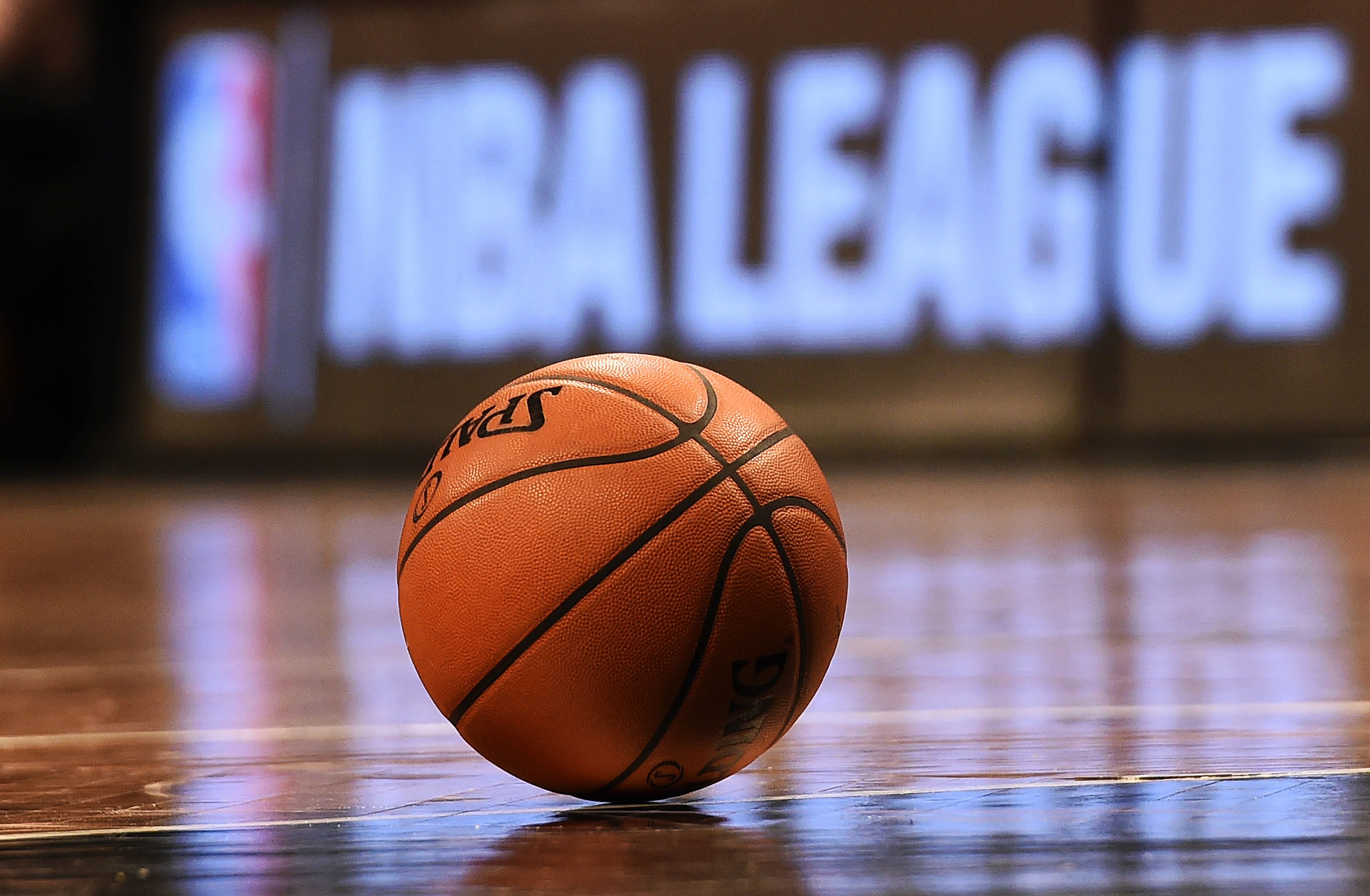 NBA basketball on court