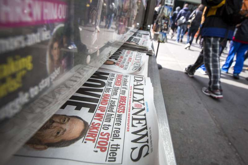 Copies of the New York Daily News are displayed on a newsstand in New York's Times Square March 31, 2015.