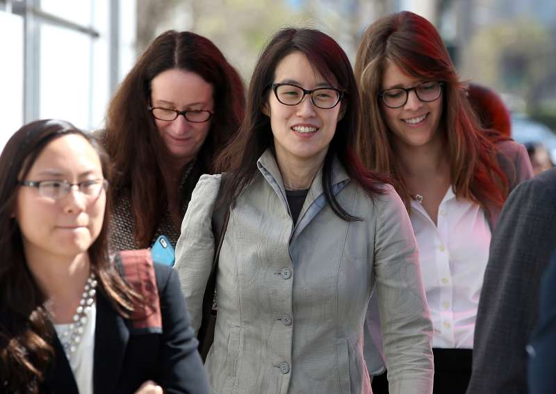 Ellen Pao leaves the San Francisco Superior Court Civic Center Courthouse with her legal team.