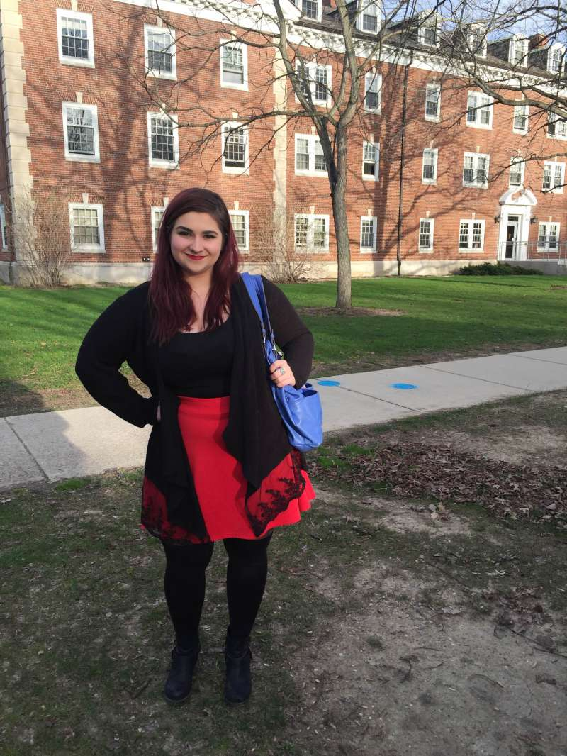 Elizabeth Bentivegna in the outfit she wore to an interview at a Cleveland tech company. She says a recruiter told her it looked like she was ready to go  clubbing.