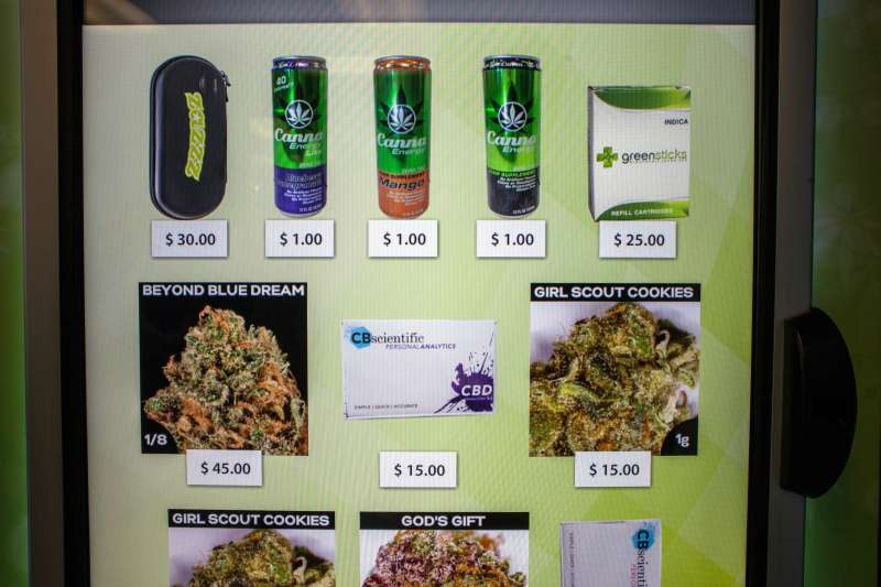 A view of the screen of a ZaZZZ vending machine that contains cannabis flower, hemp-oil energy drinks, and other merchandise at Seattle Caregivers, a medical marijuana dispensary, in Seattle, Washington February 3, 2015.