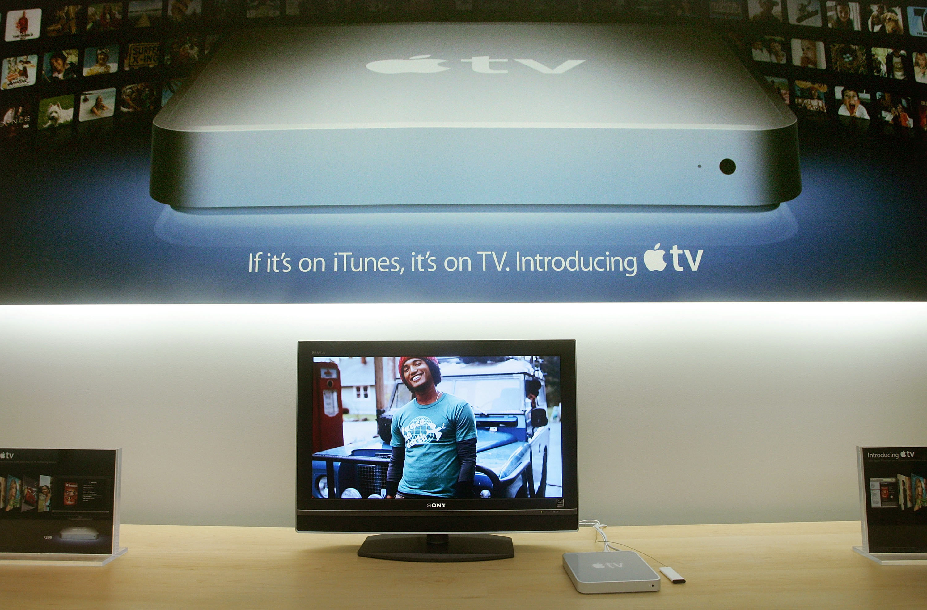 """Called a """"hobby"""" by Apple CEO Steve Jobs, the Apple TV appeared in stores on March 21, 2007. The device was priced at $299 and stored 50 hours of video."""