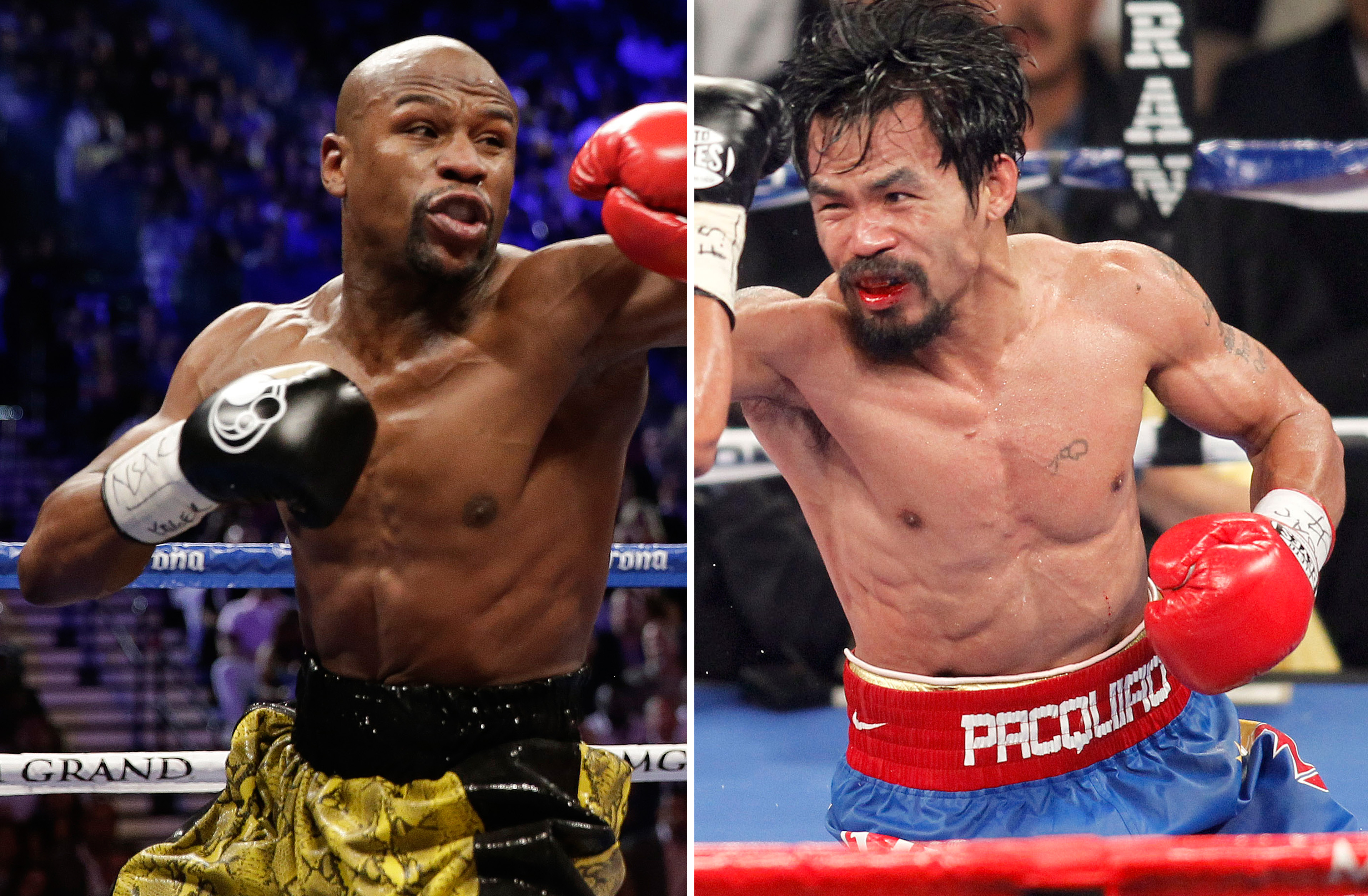 Floyd Mayweather Jr. (left) exchanges punches with Robert Guerrero (not shown) in a WBC welterweight title fight in Las Vegas on May 4, 2013. At right, in a Nov. 12, 2011 photo, Manny Pacquiao exchanges punches with Juan Manuel Marquez (not shown) during a WBO welterweight title fight in Las Vegas. Floyd Mayweather Jr. and Manny Pacquiao are about to face off at the MGM Grand in the most anticipated fight in recent times.