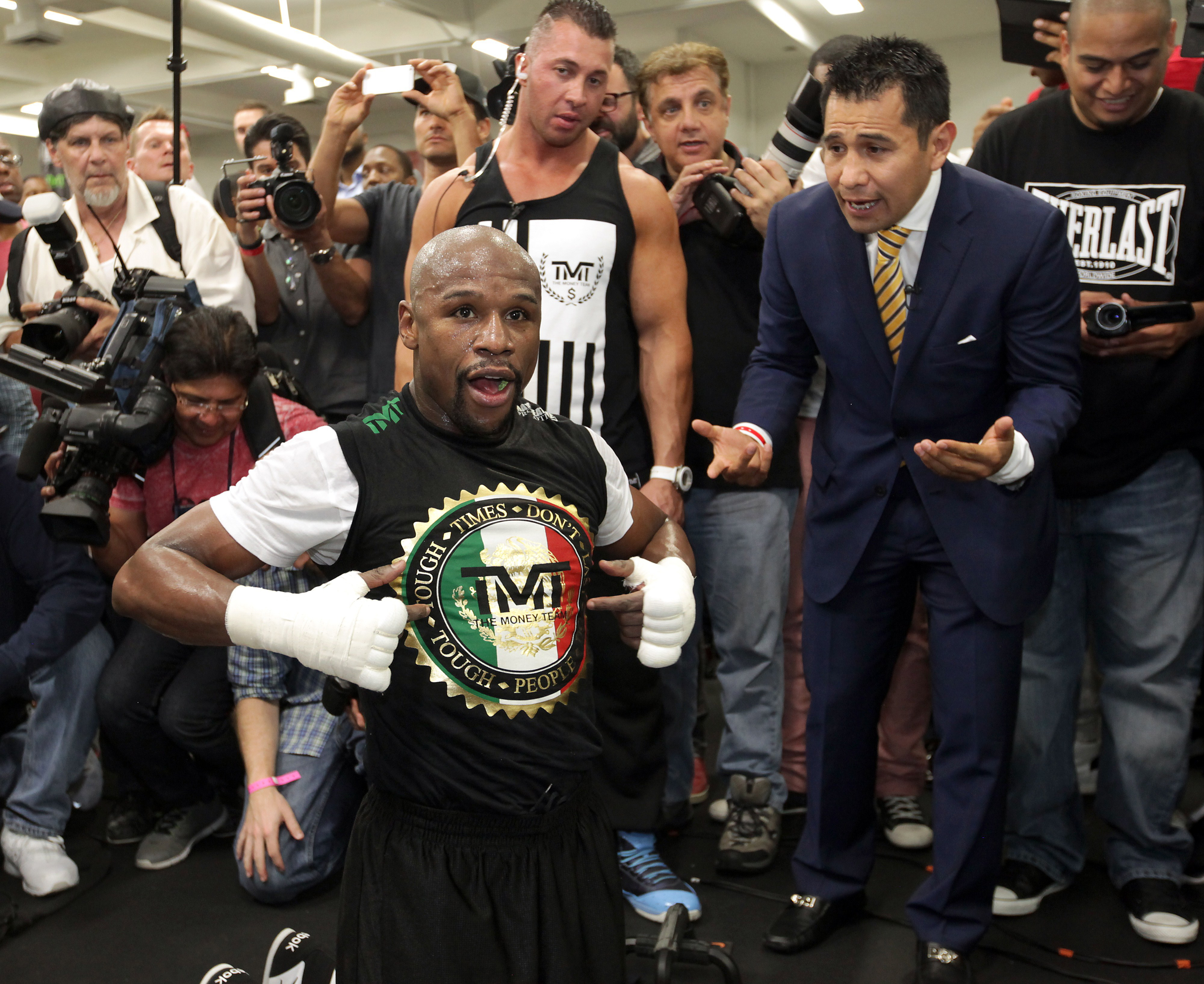 WBC/WBA welterweight champion Floyd Mayweather Jr. works out at the Mayweather Boxing Club on April 14, 2015 in Las Vegas, Nevada.