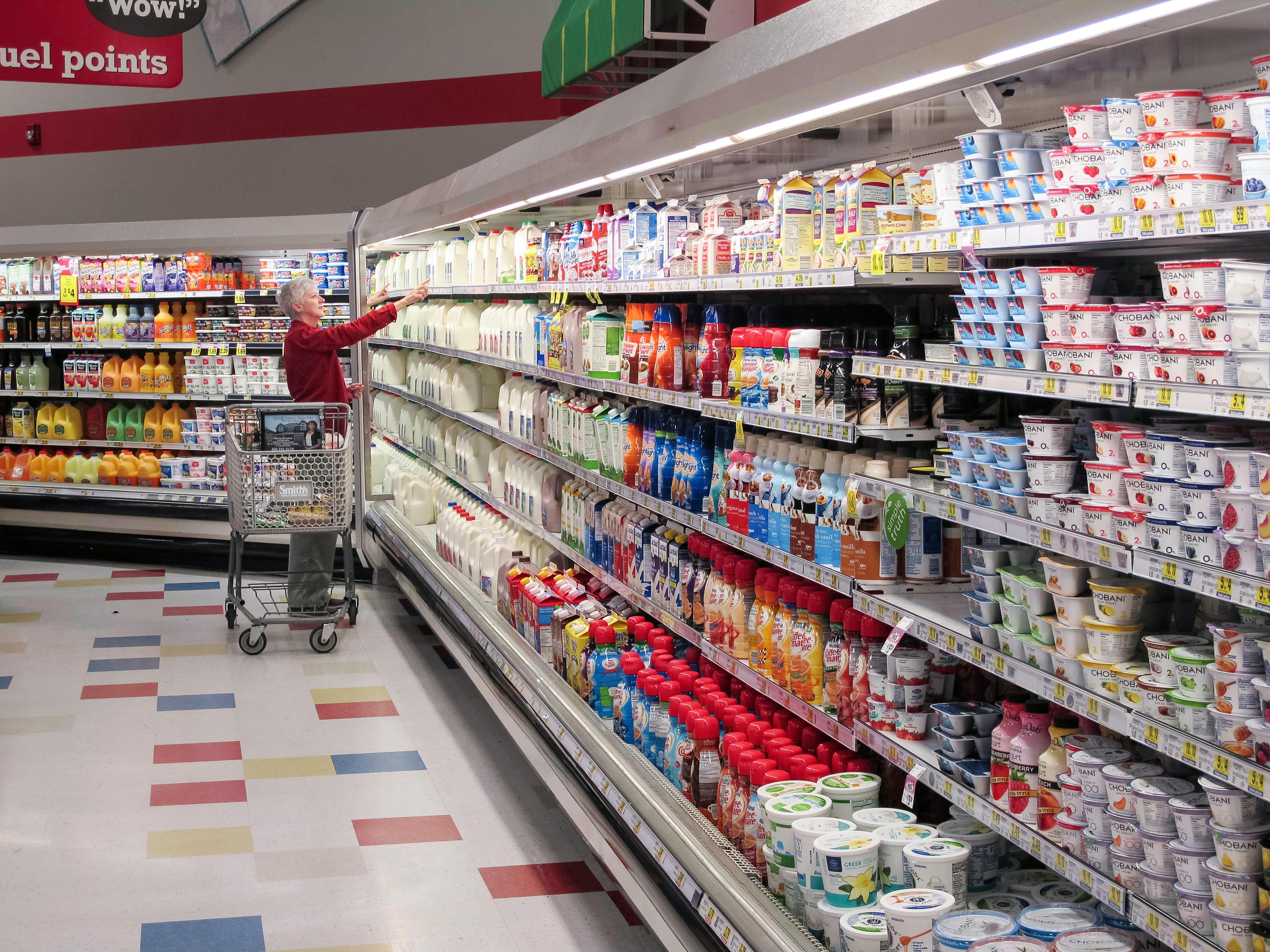 milk in supermarket