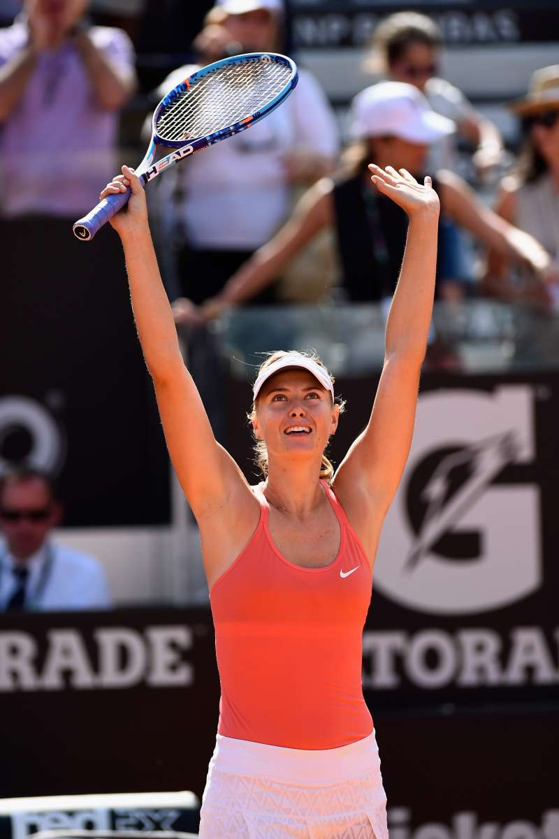 Maria Sharapova of Russia celebrates her victory over Carla Suarez Navarro of Spain in the Women's Singles Final on Day Eight of The Internazionali BNL d'Italia 2015 at the Foro Italico on May 17, 2015 in Rome, Italy.