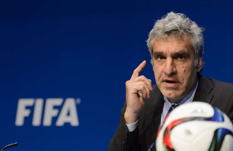 FIFA spokesman Walter De Gregorio gives a press conference at the FIFA headquarters, on May 27, 2015 in Zurich.
