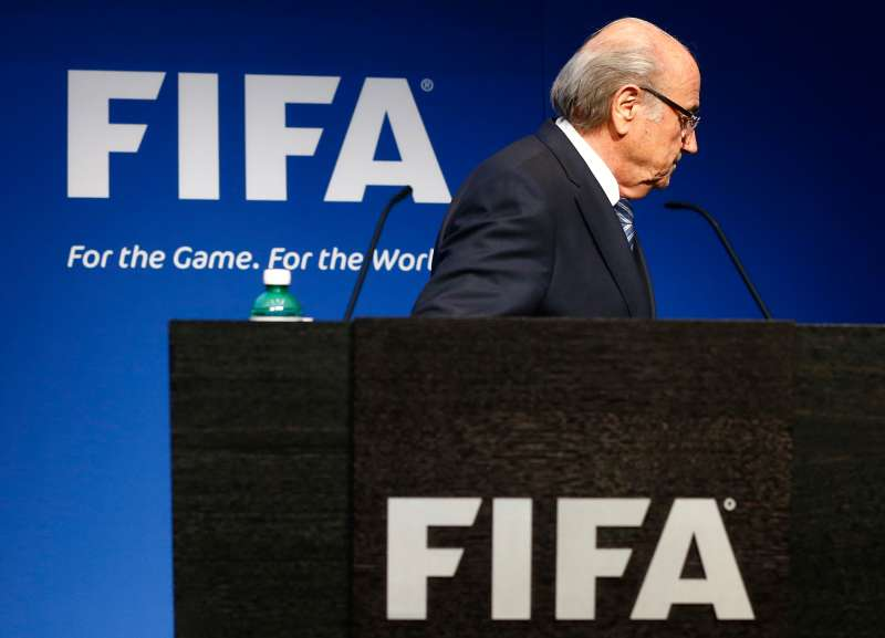 FIFA President Sepp Blatter leaves after announcing his resignation at FIFA headquarters in Switzerland, June 2, 2015.
