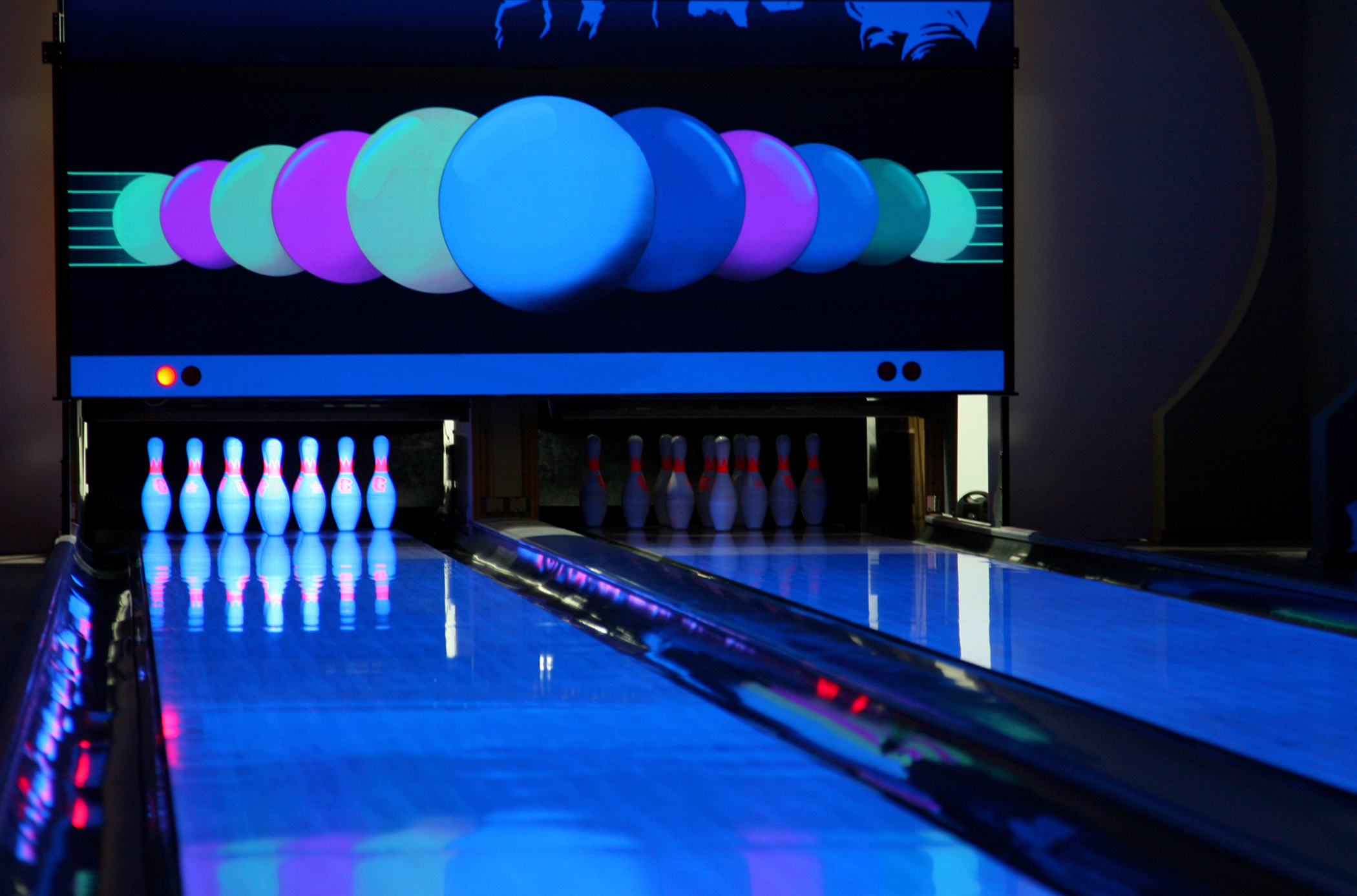 Bowling alley with neon lights
