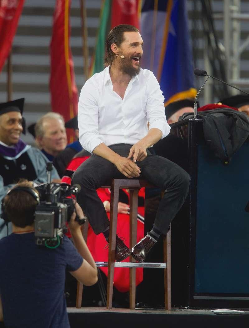 Academy Award-winning actor Matthew McConaughey gives the University Of Houston Commencement Address at TDECU Stadium on May 15, 2015 in Houston, Texas.