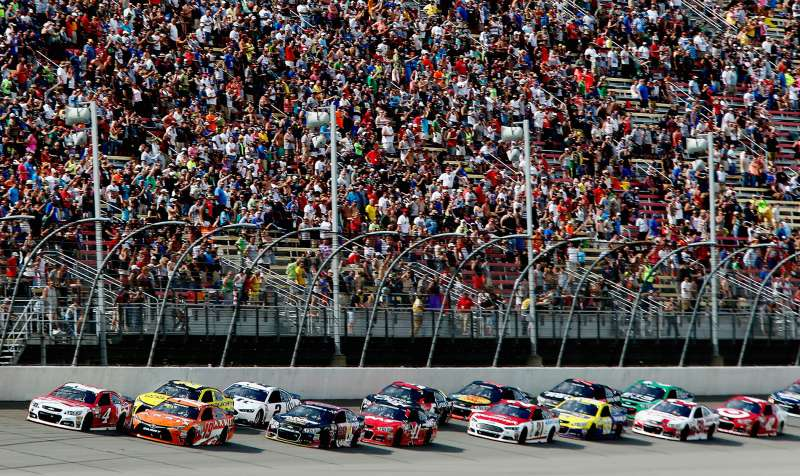 A scene from the NASCAR Sprint Cup Series Quicken Loans 400 at Michigan International Speedway on June 14, 2015 in Brooklyn, Michigan.
