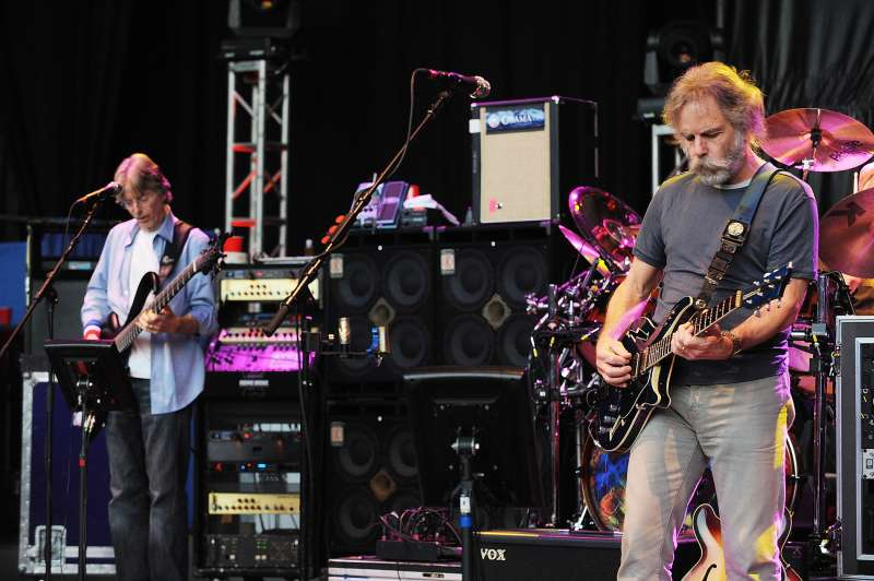 Bassist Phil Lesh and Guitarist Bob Weir of The Dead perform at the Shoreline Amphitheatre on May 10, 2009 in Mountain View, California.